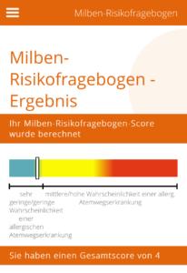 Milbenrisikofragebogen Ergebnis