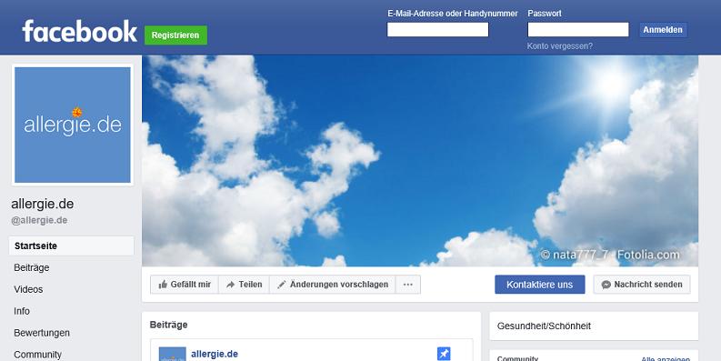 Besuchen Sie allergie.de auf Facebook!