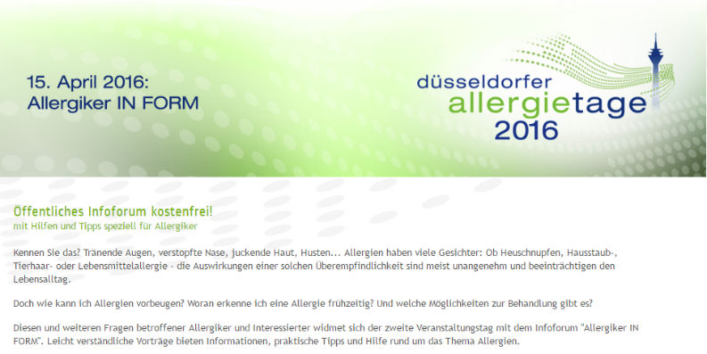 Veranstaltung am 15. April 2016: Allergiker IN FORM
