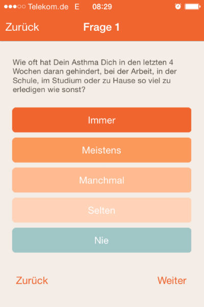 Apps im Check: AsthmaApp Asthmakontrolltest Screenshot