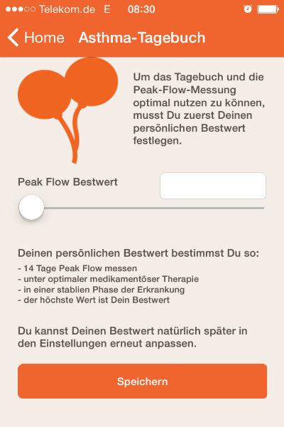 Apps im Check: AsthmaApp Asthma-Tagebuch Screenshot