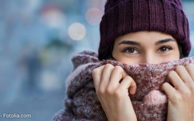 Frostige Kälte reizt die Haut und die Atemwege
